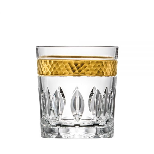 Whiskyglas Kristallglas Bloom Goldrand 9cm hell